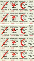 Miscellaneous Collectibles:General, 1969 Woodstock Music and Art Fair Unused Three-Day Tickets Lot of5. ...