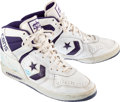 Basketball Collectibles:Uniforms, 1980's Karl Malone Signed Game Worn Sneakers....