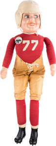 Football Collectibles:Others, 1928 Red Grange Sterling Doll Company Doll, With Pinback Button....