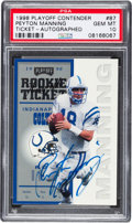 Football Cards:Singles (1970-Now), 1998 Playoff Contender Rookie Ticket Autographed Peyton Manning #87PSA Gem Mint 10. ...