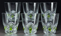 Art Glass:Lalique, Six Lalique Clear and Green Glass Floride Tumblers. Inoriginal Lalique box.. Late 20th century. Engraved Lali...(Total: 6 Items)