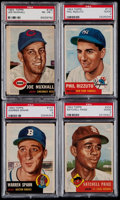 Baseball Cards:Lots, 1953 Topps Baseball PSA Graded Quartet (4) With Paige, Rizzuto & Spahn....