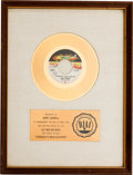 "Music Memorabilia:Awards, 100 Proof (Aged in Soul) ""Somebody's Been Sleeping"" RIAA White MatGold Record Award (Hot Wax HS 7004, 1969)...."