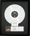 Music Memorabilia:Awards, Steve Winwood Back in the High Life RIAA Platinum AlbumSales Award (Island 1-25488, 1986)....