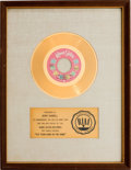 "Music Memorabilia:Awards, Ocean ""Put Your Hand in the Hand"" RIAA White Mat Gold Record SalesAward (Kama Sutra KA 519, 1971)...."
