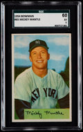 Baseball Cards:Singles (1950-1959), 1954 Bowman Mickey Mantle #65 SGC 60 EX 5....