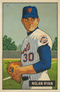 "Baseball Collectibles:Others, 2016 Nolan Ryan 1951 Bowman ""Card That Never Was"" Original Artworkby Arthur Miller. ..."