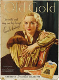 "Advertising:Paper Items, Carol Lombard ""Old Gold"" Full Color Advertising Sign,..."