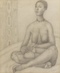 Texas:Early Texas Art - Regionalists, JOHN BIGGERS (1924-2001). Untitled. Graphite on paper. 22-1/2 x 18inches (57.2 x 45.7 cm). Signed and dated lower right. ...