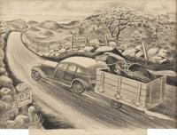 MERRITT MAUZEY (1897-1973) Texas Highway Lithograph on paper 10 x 14 inches (25.4 x 35.6 cm) S
