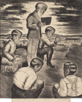 Texas:Early Texas Art - Regionalists, MERRITT MAUZEY (1897-1973). Grove Meeting - Men. Lithographon paper. 12-1/4 x 10-1/4 inches (31.1 x 26.0 cm). Signed lo...