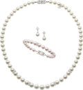 Estate Jewelry:Suites, Cultured Pearl, Diamond, White Gold Jewelry Suite, Mikimoto. ...(Total: 4 Items)
