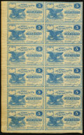 Obsoletes By State:Ohio, Cuyahoga Falls, OH- W.A. Hanford at Summit County Bank 5¢ (12) 1862Uncut Sheet. ...