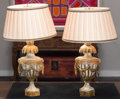 Decorative Arts, Continental, A Pair of Neoclassical-Style Painted Composite Table Lamps. 25inches high (63.5 cm). ... (Total: 2 Items)