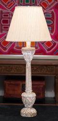 Decorative Arts, Continental, A Neoclassical-Style Carved and Painted Wood Candle Pricket Mountedas a Table Lamp, late 20th century. 38 inches high (96.5...