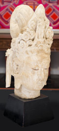 Asian:Chinese, A Ceramic Guanyin Head with Stand, 20th century. 24 inches high(61.0 cm). ...