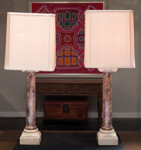 A Pair of Neoclassical-Style Carved Marble Table Lamps with Silk Shades 40 inches high (101.6 cm)