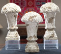 Paintings, Three White Enamel and Terracotta Bocage Finial Garden Ornaments. 20 inches high (50.8 cm). ... (Total: 3 Items)