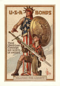 "Movie Posters:War, World War I Propaganda (U.S. Government Printing Office, 1917).Third Liberty Loan Poster (20"" X 30"") ""Weapons for Liberty,""..."