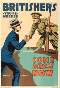 "Movie Posters:War, World War I Propaganda (British and Canadian Recruiting Mission,1916). Poster (28"" X 41"") ""Britishers You're Needed,"" Lloyd..."
