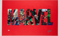 Miscellaneous Collectibles:General, 2000's Stan Lee Signed Oversized Marvel Canvas Display....