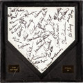Baseball Collectibles:Balls, 1989 San Francisco Giants Game Used, Team Signed Home Plate Giftedto Brett Butler. ...