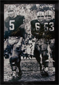 """Football Collectibles:Photos, 1965 Hornung, Thurston and Kramer Multi-Signed NFL Championship Game (aka """"Mud Bowl"""") Canvas Display...."""