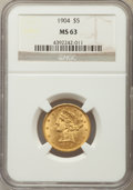 Liberty Half Eagles: , 1904 $5 MS63 NGC. NGC Census: (865/483). PCGS Population: (636/351). CDN: $550 Whsle. Bid for problem-free NGC/PCGS MS63. M...