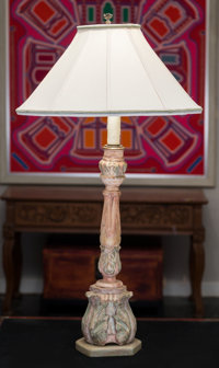 An Italian Renaissance-Style Painted and Carved Wood Candle Pricket Table Lamp 40 inches high (101.6 cm)