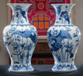 Asian:Chinese, A Pair of Chinese Blue and White Porcelain Vases with Lotus Motif.Marks: (seal to the underside). 24 inches high (61.0 cm)... (Total:2 Items)