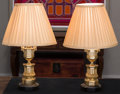 Decorative Arts, French, A Pair of Louis XVI-Style Brass Table Lamps, late 20th century. 23inches high (58.4 cm). ... (Total: 2 Items)