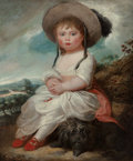 Fine Art - Painting, European, English School (late 18th/early 19th Century). A portrait of ayoung girl, seated in a landscape with her pet dog, thought...