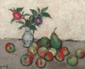 Paintings, Georges d' Espagnat (1870-1950). Still life with flowers in a blue and white vase with apples and pears on a table. Oil ... (Total: 2 Items)