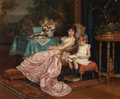 Fine Art - Painting, European:Antique  (Pre 1900), Auguste Toulmouche (French, 1829-1890). A mother and daughterreading, 1882. Oil on canvas. 21-1/2 x 26 inches (54.6 x 6...