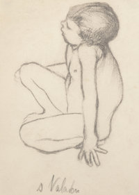 Suzanne Valadon (French, 1865-1938) Maurice Utrillo nu assis, circa 1889 Pencil on paper 5 x 3-5/