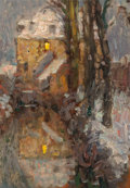 Fine Art - Painting, European:Modern  (1900 1949)  , Henri Eugène Le Sidaner (French, 1862-1939). Le Canal, Neige,Gisors, 1901. Oil on panel. 9 x 6-1/4 inches (22.9 x 15.9 ...(Total: 2 Items)