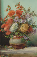 Fine Art - Painting, European, Noel Harry Leaver (British, 1889-1951). Autumn flowers; Wall flowers (two works). Watercolor heightened with white and g... (Total: 2 Items)
