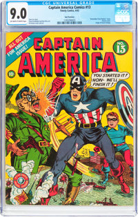 Captain America Comics #13 San Francisco Pedigree (Timely, 1942) CGC VF/NM 9.0 Off-white to white pages