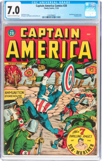 Captain America Comics #20 (Timely, 1942) CGC FN/VF 7.0 Cream to off-white pages