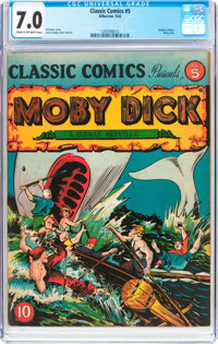 Classic Comics #5 Moby Dick - First Edition (Gilberton, 1942) CGC FN/VF 7.0 Cream to off-white pages