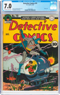 Golden Age (1938-1955):Superhero, Detective Comics #70 (DC, 1942) CGC FN/VF 7.0 Off-white to white pages....
