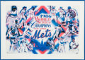 Baseball Collectibles:Others, 1986 New York Mets World Champions Poster Signed by 28 from TheGary Carter Collection....