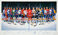 Hockey Collectibles:Photos, 500 Goal Scorers Signed Ron Lewis Lithograph. ...