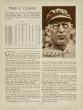 """Baseball Collectibles:Others, 1920's Fred Clarke Signed """"Who's Who in Baseball"""" Page...."""