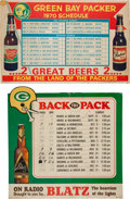 Football Collectibles:Others, 1969 and 1970 Green Bay Packers Schedule Broadsides, Featuring Chief Oshkosh/Rahr's and Blatz Beer....