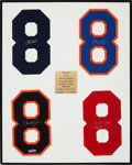 Baseball Collectibles:Others, 2008 Great No. 8's Yogi Berra Museum & Learning Center SignedDisplay from The Gary Carter Collection. ...