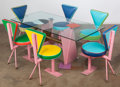 Furniture , Peter Shire (American, b. 1947). Custom Seven-Piece Dinette Set, 1986. Enameled and chromed steel, brass, glass, suede, ... (Total: 7 Items)