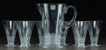 Art Glass:Lalique, Nine-Piece Lalique Clear and Frosted Glass BourgueilService. Pitcher and 8 glasses, in two original Lalique box...(Total: 9 Items)