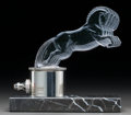 Art Glass:Lalique, Rare R. Lalique Clear and Frosted Glass Cinq Chevaux Mascoton Mount and Base. Breves style mount and marble pli...