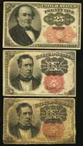 Fractional Currency:Fifth Issue, Fr. 1265 10¢ Fifth Issue Very Good;. Fr. 1266 10¢ Fifth Issue Fine-Very Fine;. Fr. 1308 25¢ Fifth Issue Very Fine.. ... (Total: 3 notes)